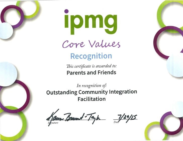 Parents and Friends Core Values Award from IPMG